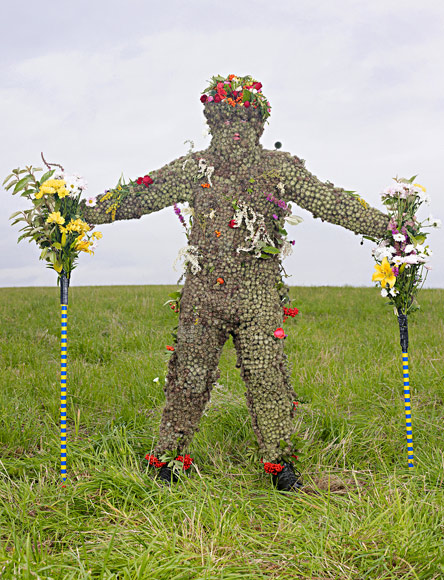 SCOTLAND Thousands of burrs adorn the Burryman. The man who plays the role at the Ferry Fair in Queensferry must collect all the burrs himself. Once dressed, he walks the town, accepting offers of money and whiskey and bestowing good luck.